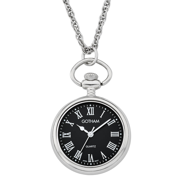 Gotham Women's Silver-Tone Open Face Pendant Watch With Chain # GWC14135SBR