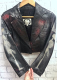 Sacred Heart Cropped Leather Jacket