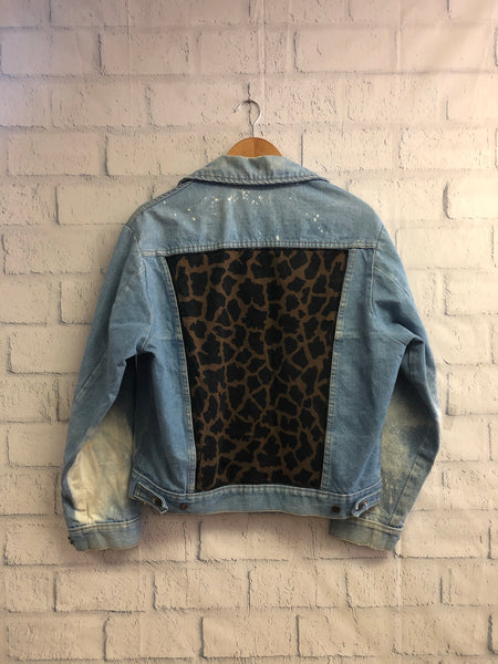 Vintage Custom Leopard Print Denim Jacket