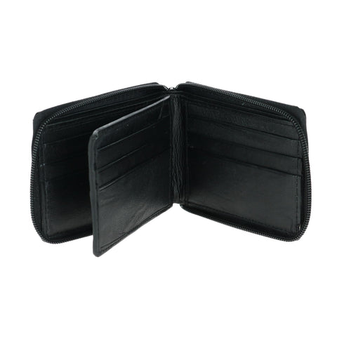 CTM men's zip around wallet black