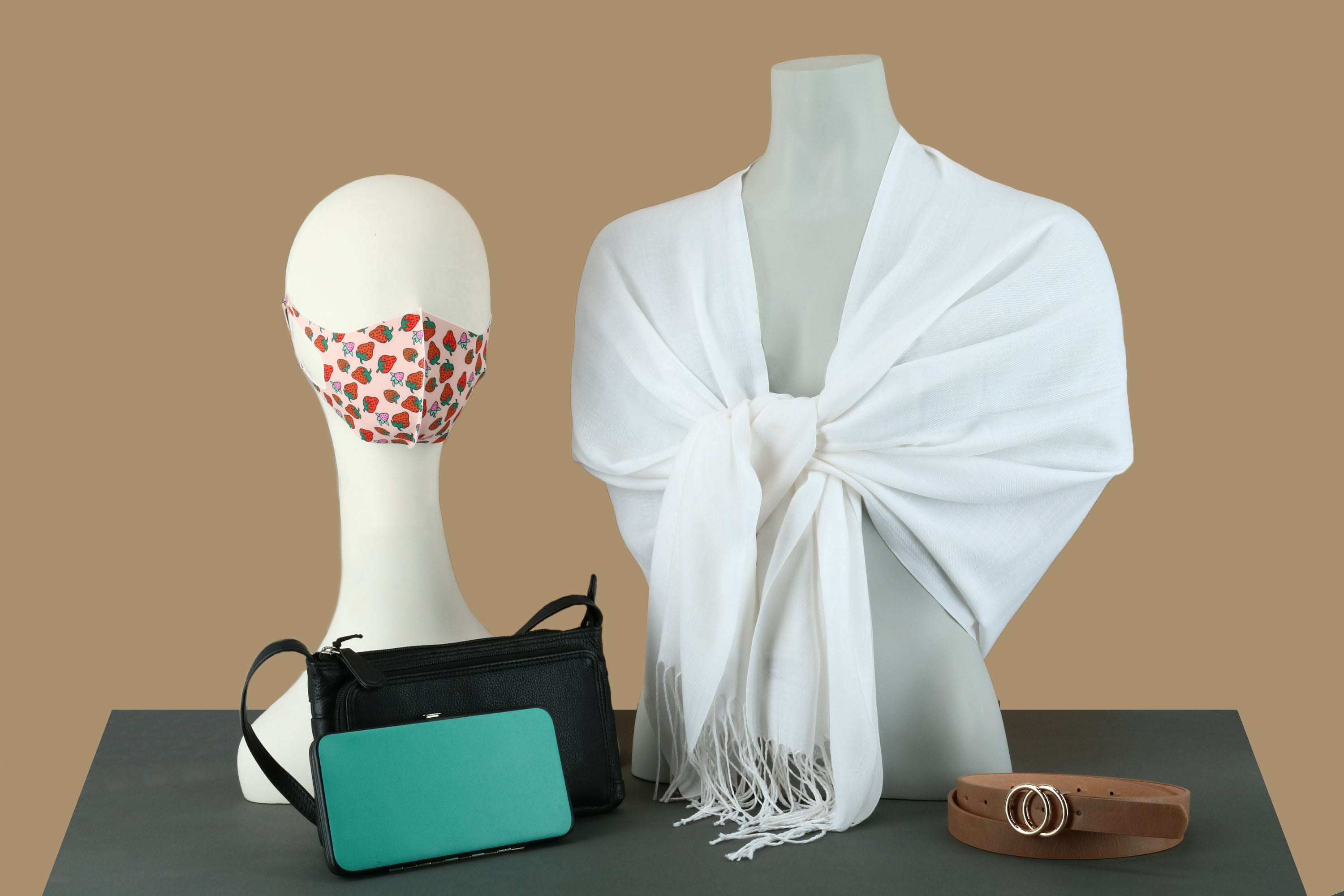 Strawberry print face mask with pashmina, black purse, teal wallet, and tan belt - BeltOutlet.com
