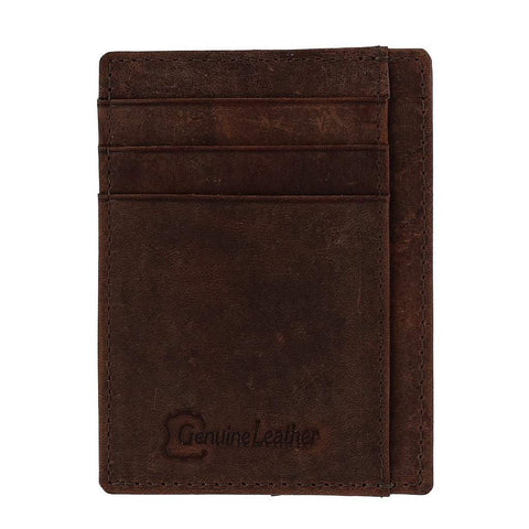 CTM® Men's Vintage Leather RFID Slim Front Pocket Credit Card Case