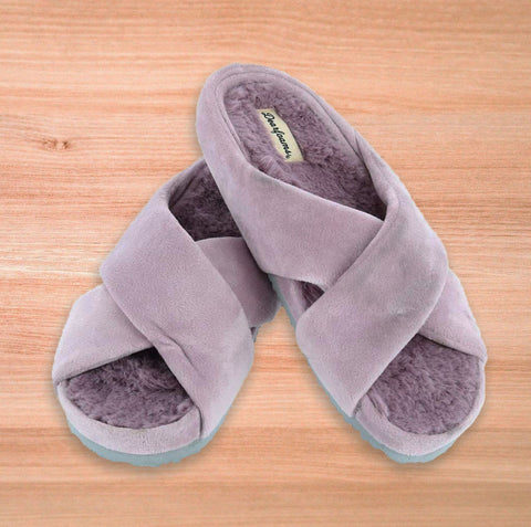 Dearfoams Women's soft and fuzzy Velour Crisscross Slipper with Molded Footbed purple at beltoutlet.com
