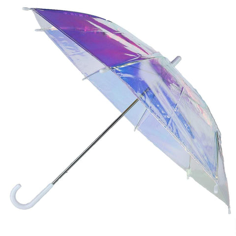CTM® Kid's Iridescent Stick Umbrella with Hook Handle at BeltOutlet.com