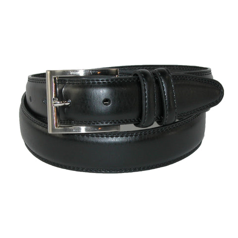 Men's Big & Tall Leather Padded Belt with Satin Buckle