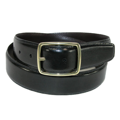 Men's Reversible Leather Belt with Gold Center Bar Buckle