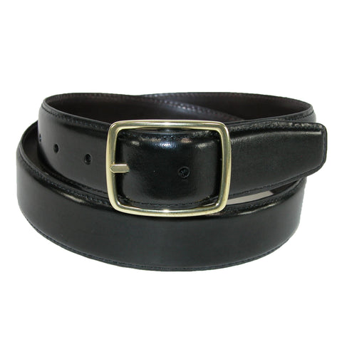 Men's Leather Gold Buckle Center Bar Reversible Belt