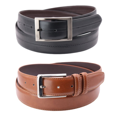 Men's Big & Tall Reversible and Solid Belt (Pack of 2)