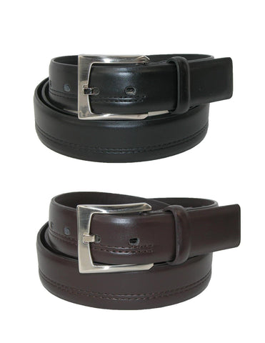 Men's Big & Tall Double Stitched Belts (Pack of 2)