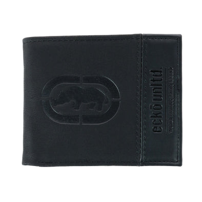 Men's Bifold Wallet with Flip-Out ID and Embossed Logo