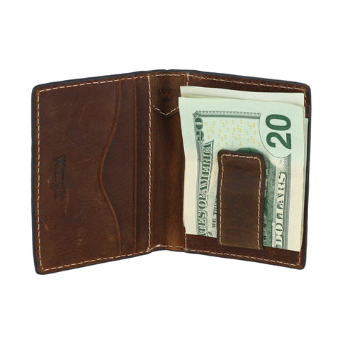 Wrangler Men's Leather Card Case Wallet with Money Clip
