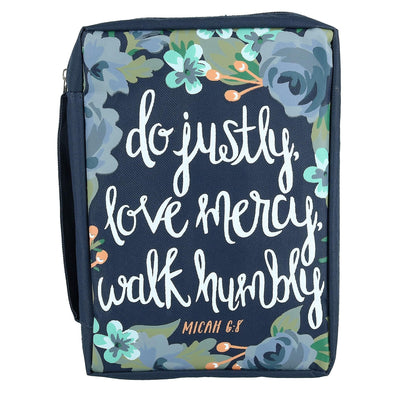 Justly Mercy Humbly Canvas Bible Cover Case