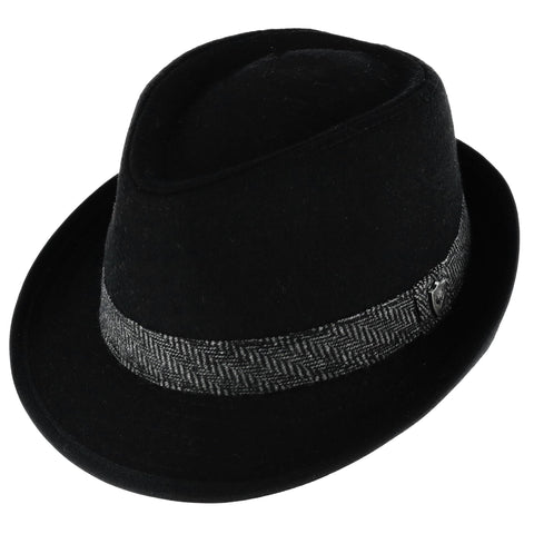 Men's Wool Blend All Season Fedora Hat with Herringbone Band