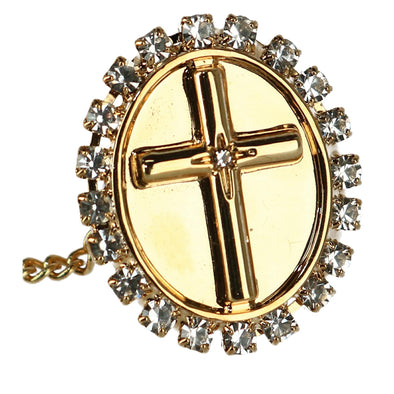 Men's Oval Tie Tack with Crystal Accent Cross