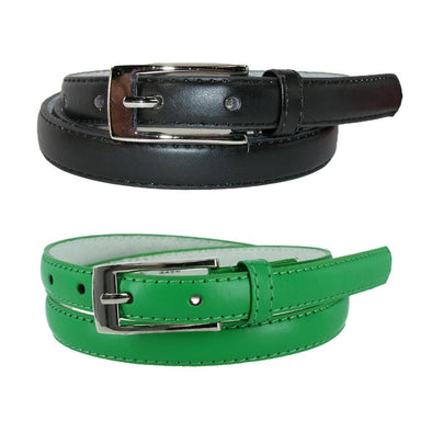 Women's Skinny Leather Dress Belt (Pack of 2 Colors)