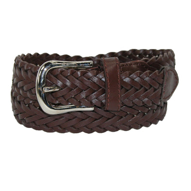Boys' Leather 3/4 Inch Adjustable Braided Dress Belt