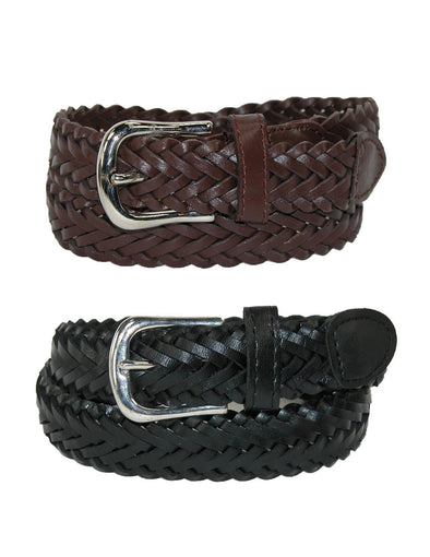 Boys' Leather Adjustable Braided Dress Belt (Pack of 2 Colors)