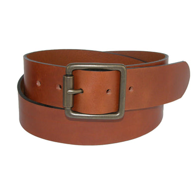 Men's Ravens Italian Leather Center Bar Buckle Belt