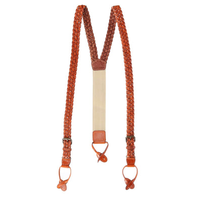 Men's Leather Turner Braided Button-end Suspenders