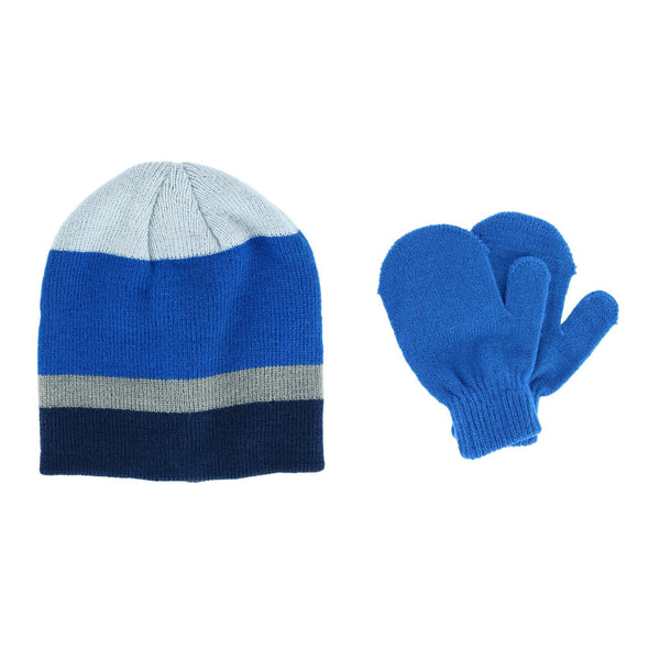 Toddler Boys' 2-4 Striped Acrylic Knit Hat and Mitten Set