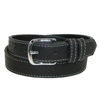 Men's Big & Tall Bison Leather Belt with Contrast Stitch