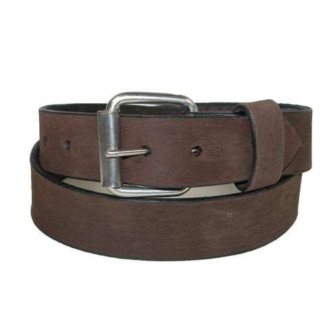 Boston Leather Men's Big & Tall Bark Leather Belt with Removable Roller Buckle