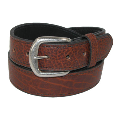 Men's Big & Tall Bison Leather Belt with Removable Buckle