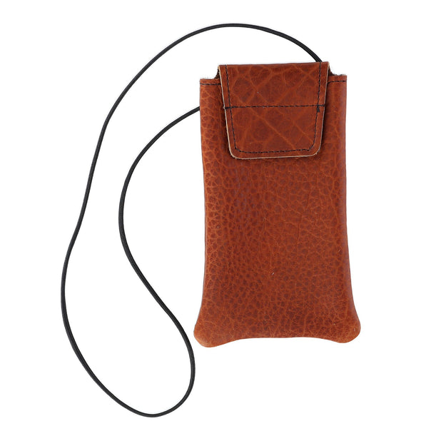 Textured Bison Leather Eyeglass Case with Neck String