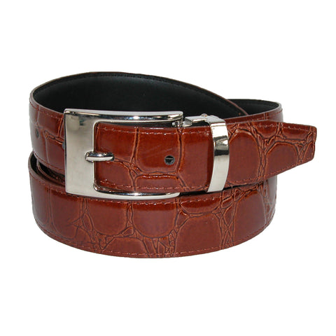 Men's Leather Croc Print Dress Belt with Clamp On Buckle