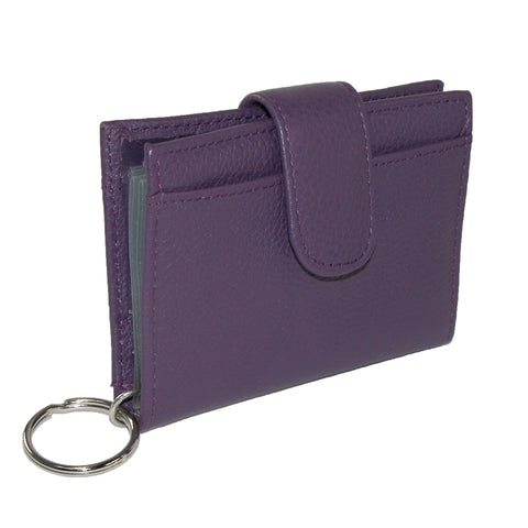 Women's Leather Key Chain ID Card Case Wallet