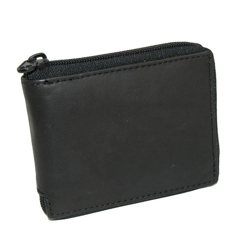Men's Leather Zippered Bifold Wallet
