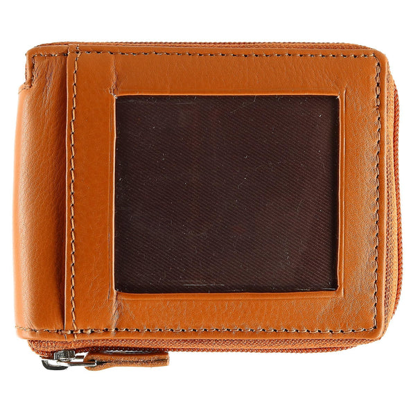 Men's Leather Zip-Around Wallet with Exterior ID Window