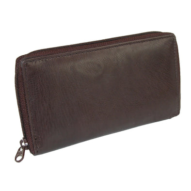 Leather Deluxe Zip Around Checkbook Cover Wallet