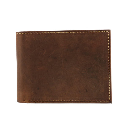 Men's Hunter Leather Distressed RFID Bifold Wallet with Interior Zipper