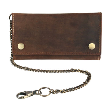 Men's Hunter Leather Long Trifold Chain Wallet