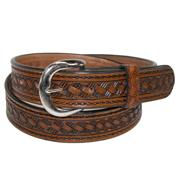 Men's Leather Western Belt with Removable Buckle