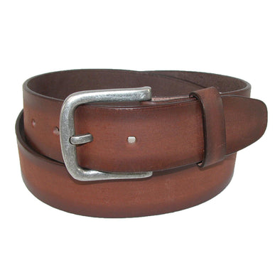 Men's Big & Tall Burnished Leather Bridle Belt with Removable Buckle