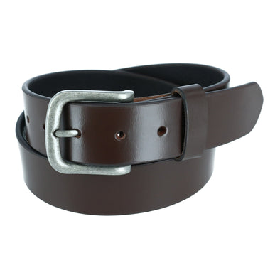 Men's Leather 1 3/8 Inch Removable Buckle Bridle Belt