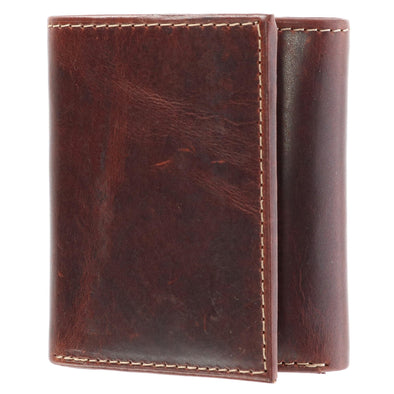 Men's Oil Pull Up Leather Trifold Wallet