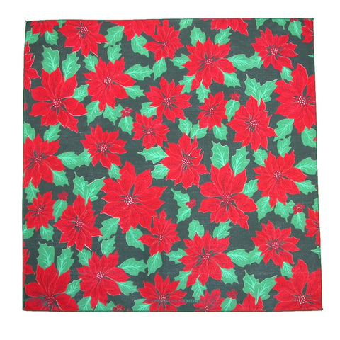 Christmas Poinsettia Print Holiday Bandana