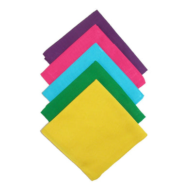 Multi Color Solid Bandanas (Pack of 5)