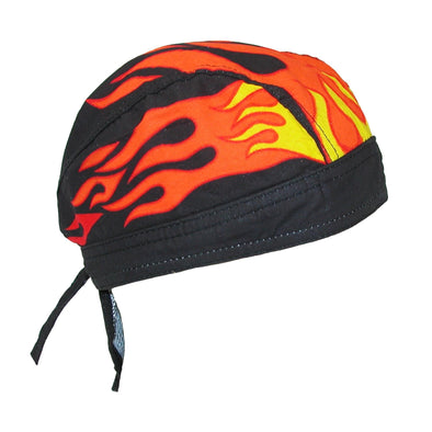 Men's Cotton Lined Flames Do Rag Cap