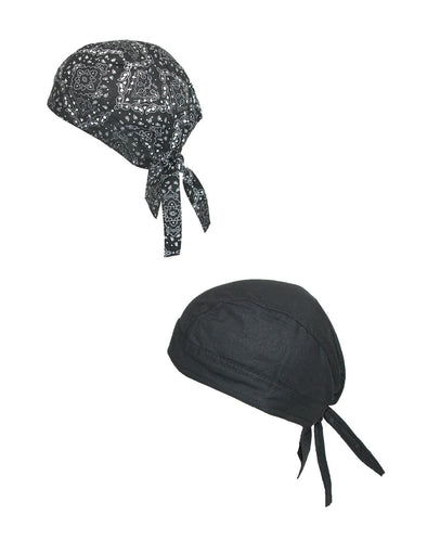 Cotton Unlined Solid and Paisley Do Rag (Pack of 2)