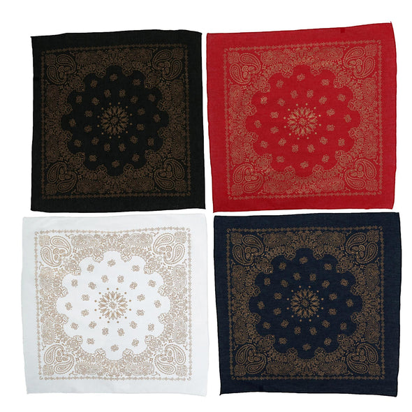 Metallic Paisley Print Bandanas (Pack of 4)