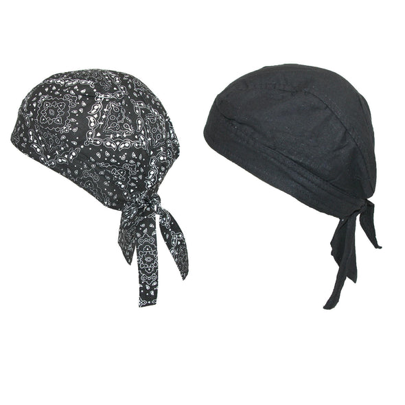 Cotton Premium Solid and Paisley Do Rag (Pack of 2)