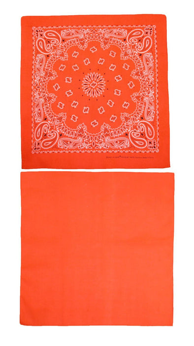Cotton Solid and Paisley Print Neon Bandana Kit (Pack of 2)