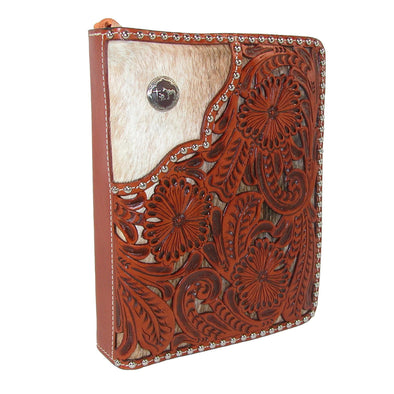 Hand-Tooled Filigree Overlay Bible Cover