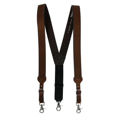 Men's Leather Braided Suspenders with Buckle Ends
