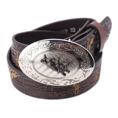 Boy's Tooled Rodeo Belt with Plaque Buckle