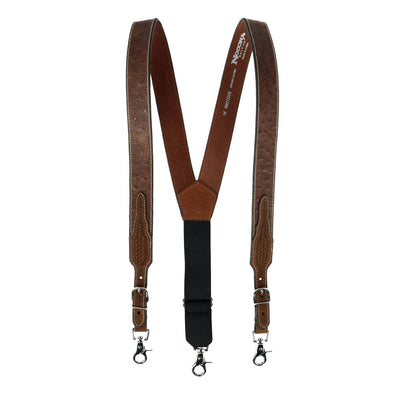Men's Leather Ostrich Print Suspenders with Braided Detail